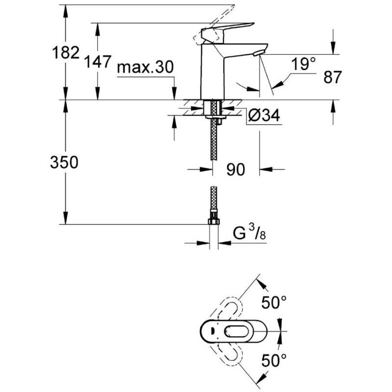 "Grohe Bauloop Mono Basin Mixer Smooth Body 1/2"" 23337"