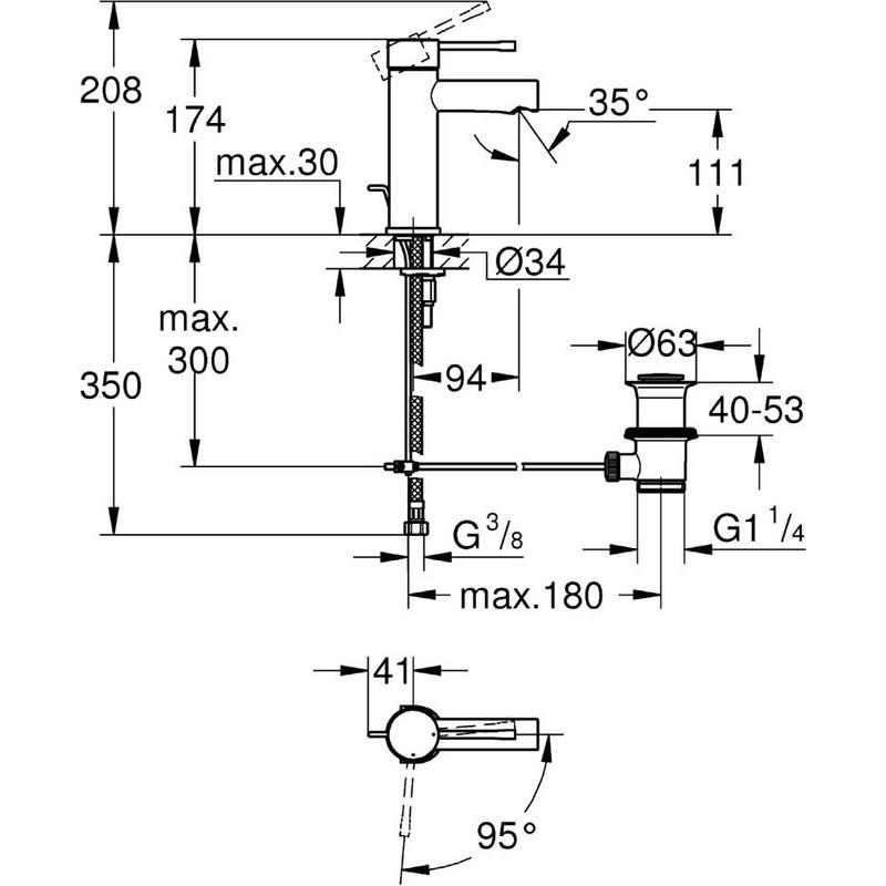 "Grohe Essence Basin Mixer 1/2""  S-Size 23379 Chrome"