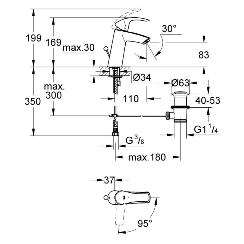 "Grohe Eurosmart Basin Mixer with Pop-Up Waste 1/2"" Medium 23393"