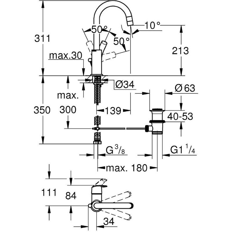 "Grohe Eurosmart  Single-Lever Basin Mixer 1/2""  L-Size 23537"