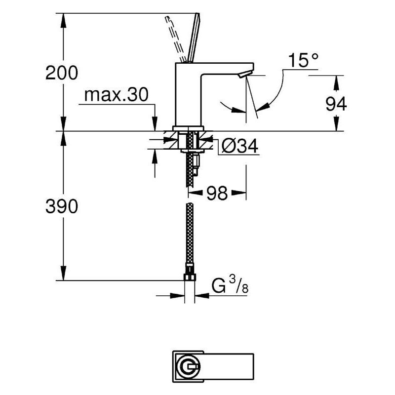 "Grohe Eurocube Joy Basin Mixer 1/2"" S-Size 23656"