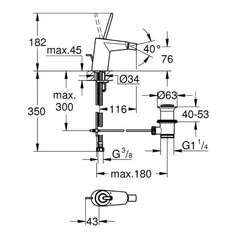 "Grohe Eurodisc Joystick Bidet Mixer 1/2"" Small 24036"