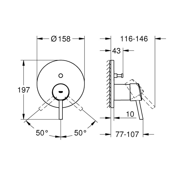Grohe Concetto Shower Mixer Trim with 2-Way Diverter 24054