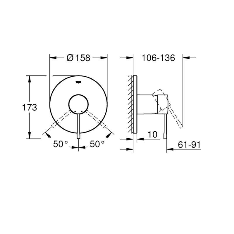 Grohe Essence Shower Mixer Trim 24057