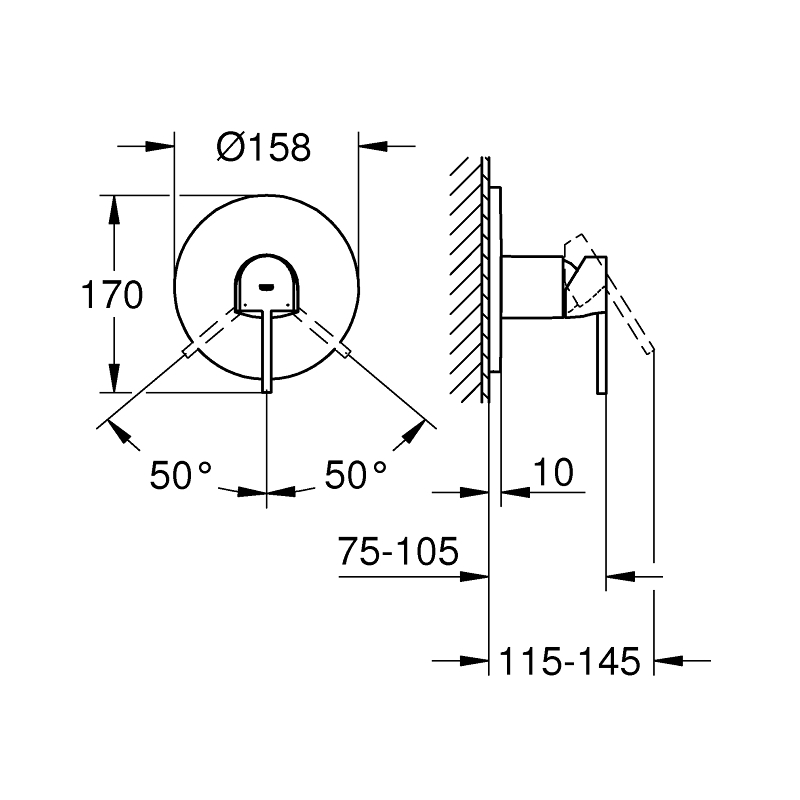 Grohe Plus Single-Lever Shower Mixer Trim 24059