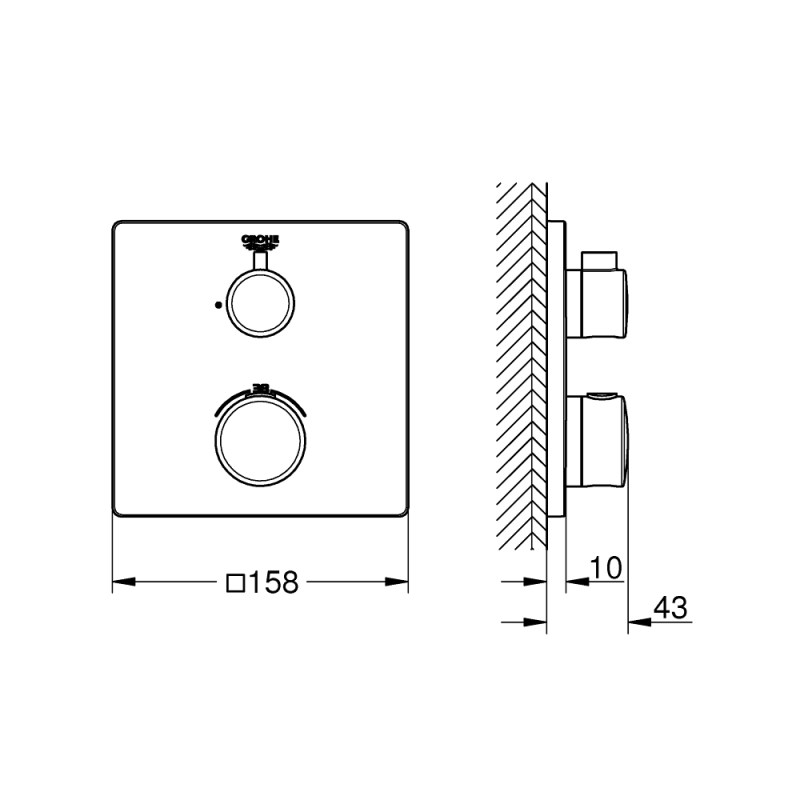 Grohe Grohtherm Square Thermostatic Mixer 1 Outlet 24078