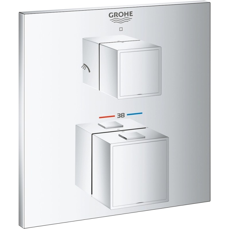 Grohe Grohtherm Cube Thermostatic Shower Mixer Trim for 2 Outlets 24154
