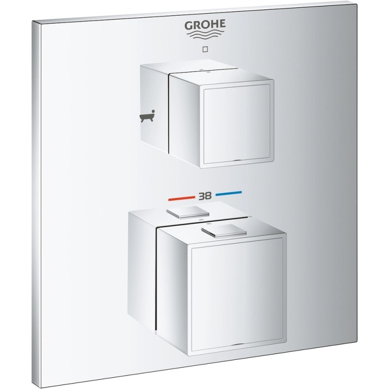 Grohe Grohtherm Cube Thermostatic Bath Tub Mixer Trim for 2 Outlets 24155