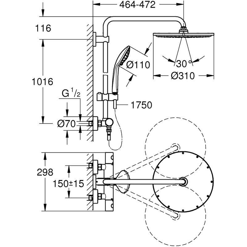 Grohe Euphoria 310 Shower System 26075 Brushed Hard Graphite