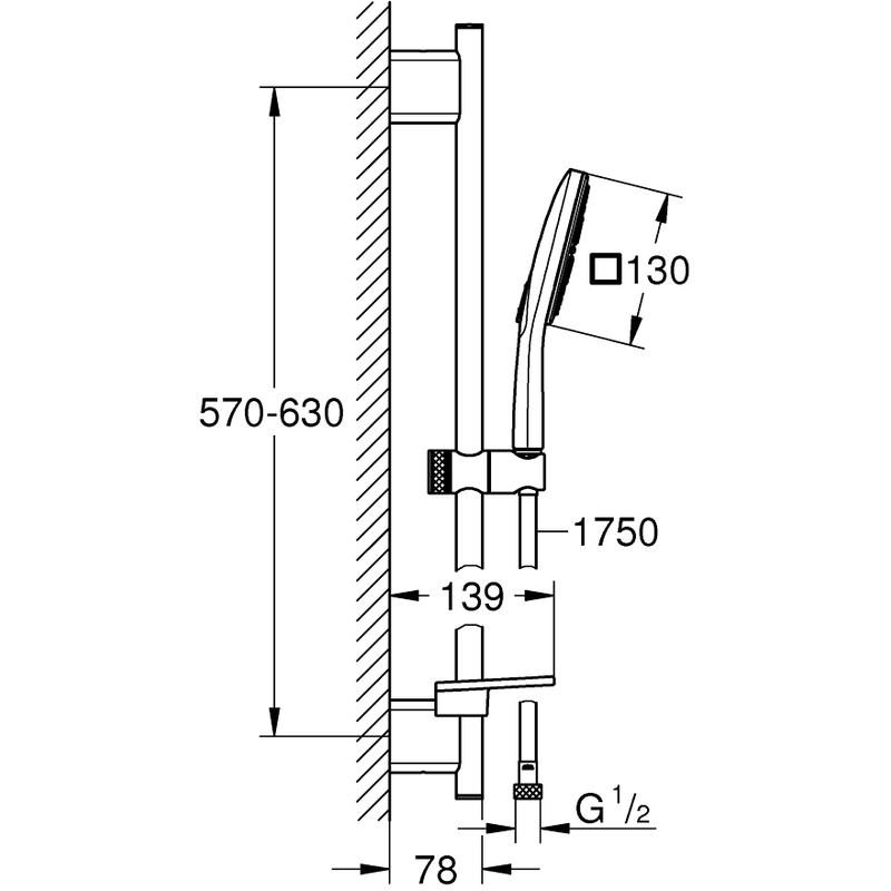 Grohe Rainshower Smartactive 130 Cube Shower Rail Set 26584
