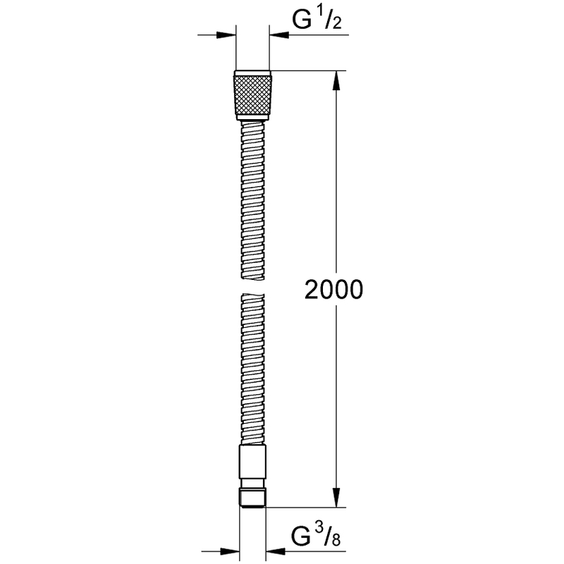 "Grohe Metal Hose 2000mm 1/2"" x 3/8"" 28158"