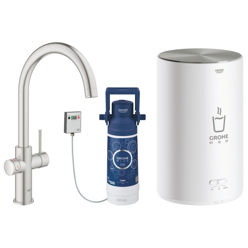 Grohe Red Duo Tap & M Size Boiler 30058 Supersteel