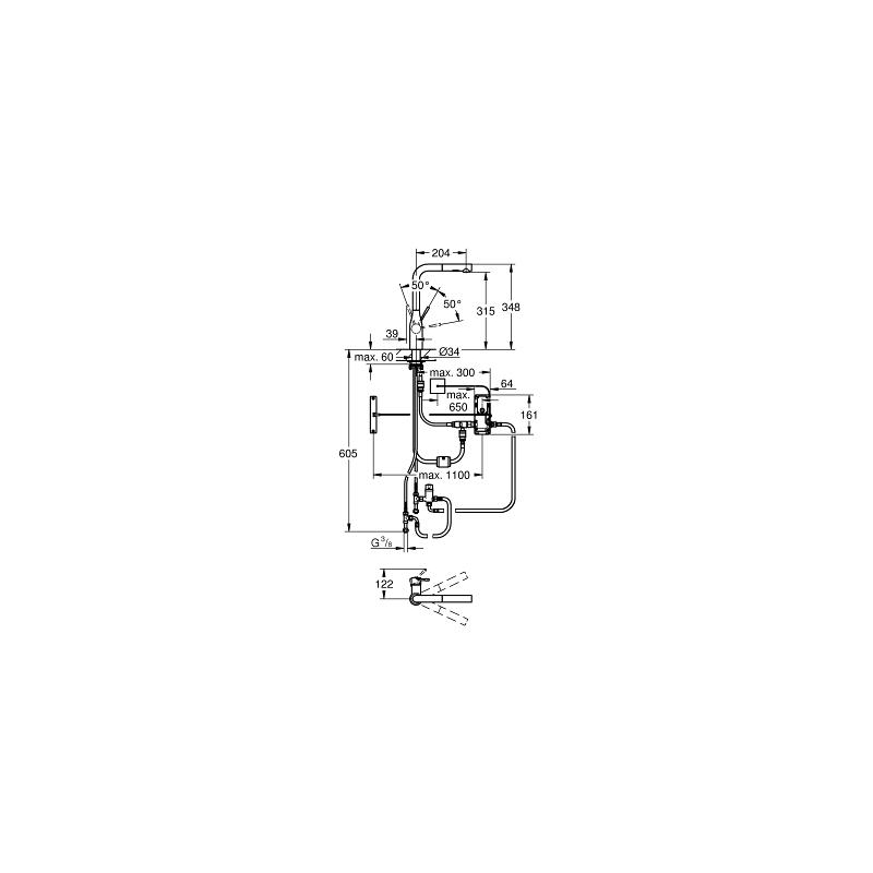 """Grohe Essence Footcontrol Electronic Sink Mixer 1/2"""" 30311"""