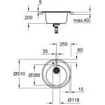 Grohe K200 50-C 51 1.0 Composite Sink 31656 Granite Black