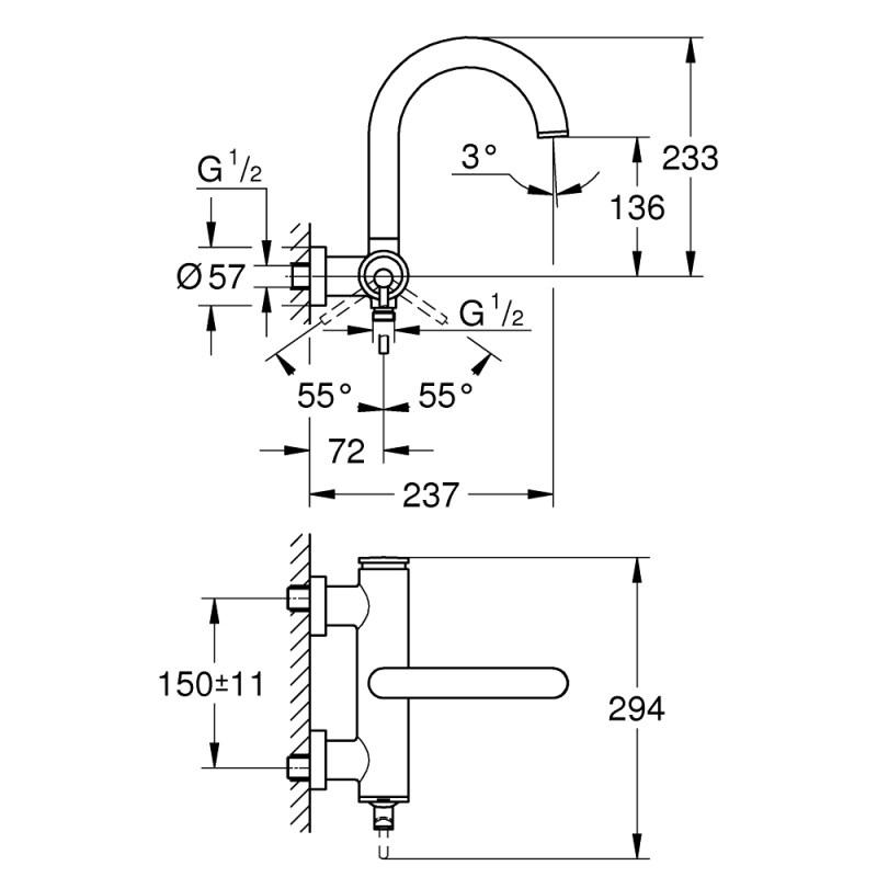 Grohe Atrio Single-Lever Bath Mixer 32652 Brushed Graphite