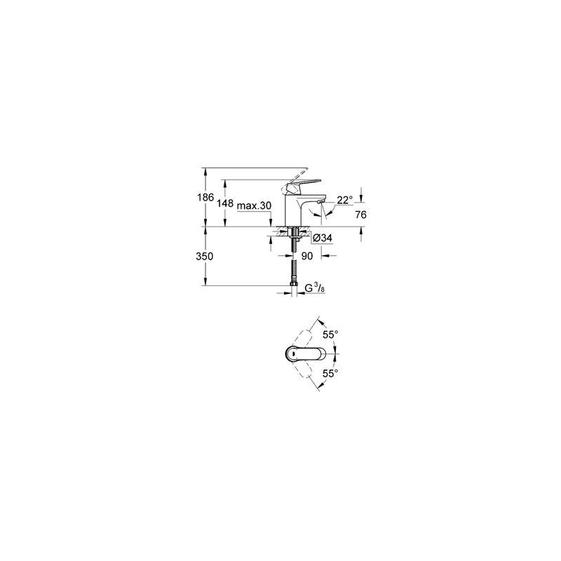 "Grohe Eurosmart Cosmopolitan Mono Basin Mixer Tap 1/2"" Small"