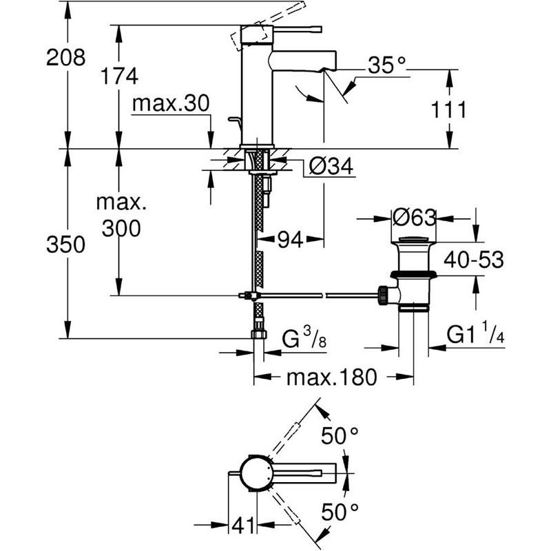 "Grohe Essence Basin Mixer 1/2""  S-Size 32898 Chrome"