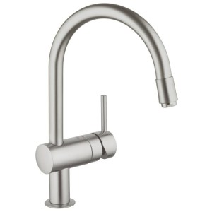 """Grohe Minta Sink Mixer with Pull Out Spout 1/2"""" 32918 Supersteel"""