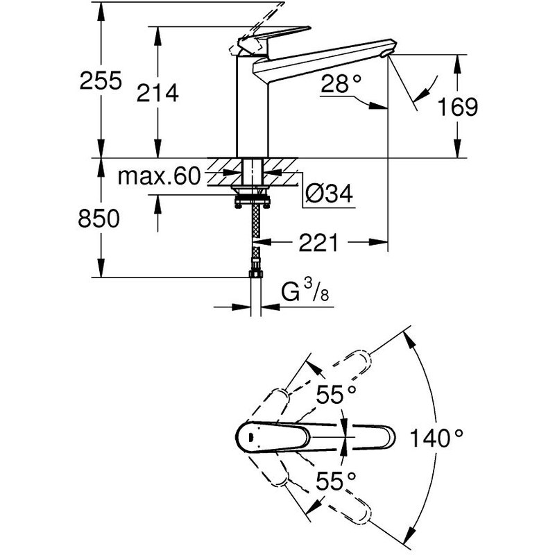 "Grohe Eurodisc Cosmopolitan Sink Mixer 1/2"" 33312"