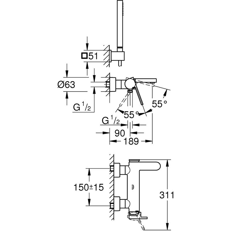 Grohe Plus Wall Bath/Shower Mixer & Kit 33547
