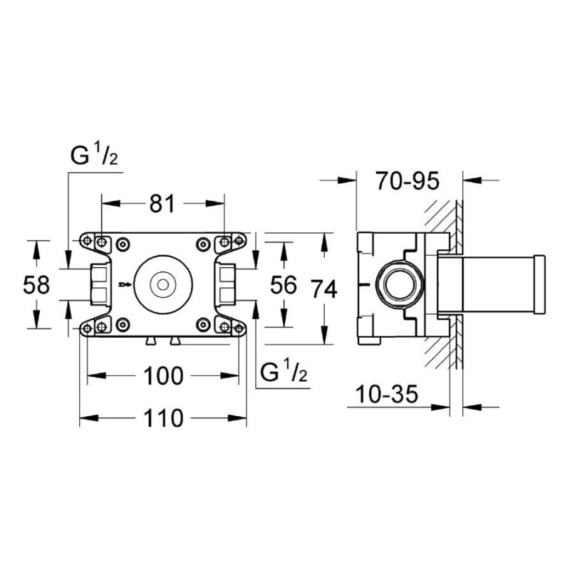 Grohe Rapido C Rough-In for Single Volume Control 35028