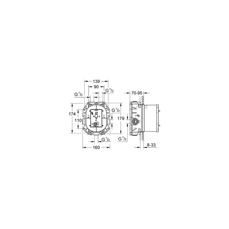 Grohe Rapido T Universal Thermostatic Mixer Concealed 35500
