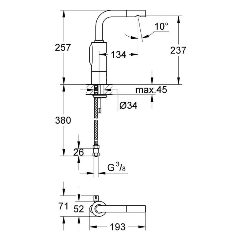 "Grohe Essence E Infra-Red Mono Basin Mixer Battery 1/2"" 36092"