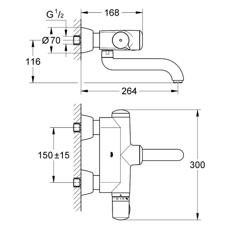 """Grohe Europlus E Infrared Wash Basin Thermostat 1/2"""" 36239"""