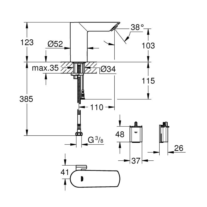 Grohe Bau Cosmopolitan E Electronic Basin Mixer 6V 36451