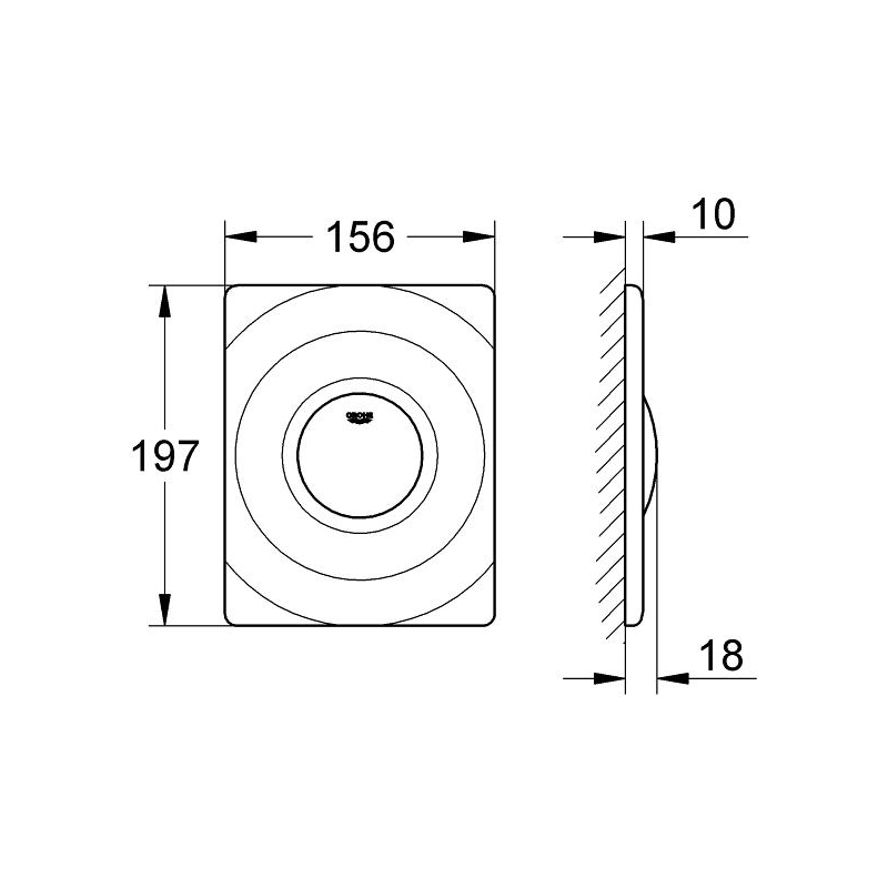 Grohe Surf WC Wall Plate 37063 Alpine White