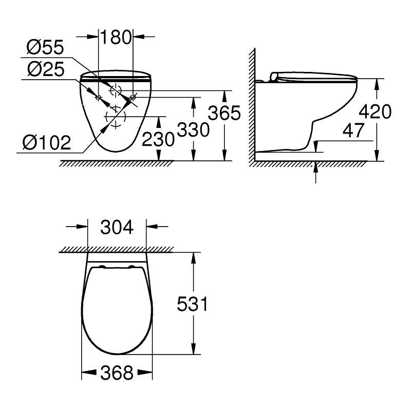 Grohe Bau Ceramic Wall Hung Rimless WC Pan & Seat 39351