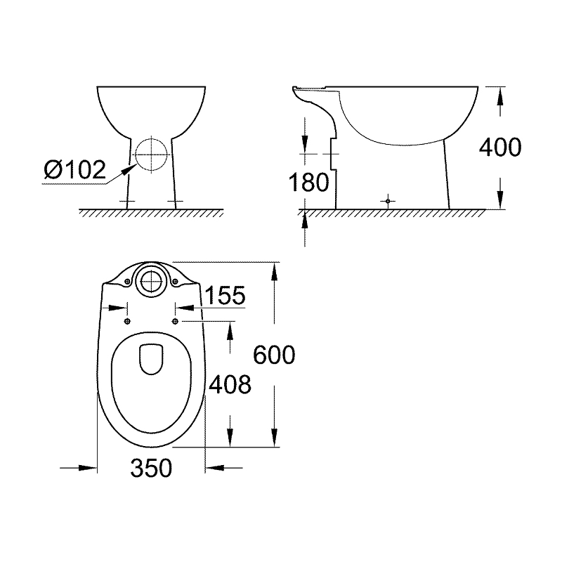 Grohe Bau Ceramic Floor Standing Close Coupled WC Pan 39428