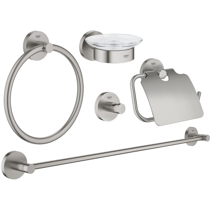 Grohe Essentials 5-In-1 Bathroom Accessories Set 40344 Supersteel