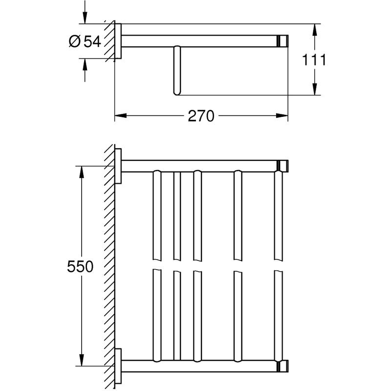 Grohe Essentials Multi Bath Towel Rack 40800 Brushed Nickel