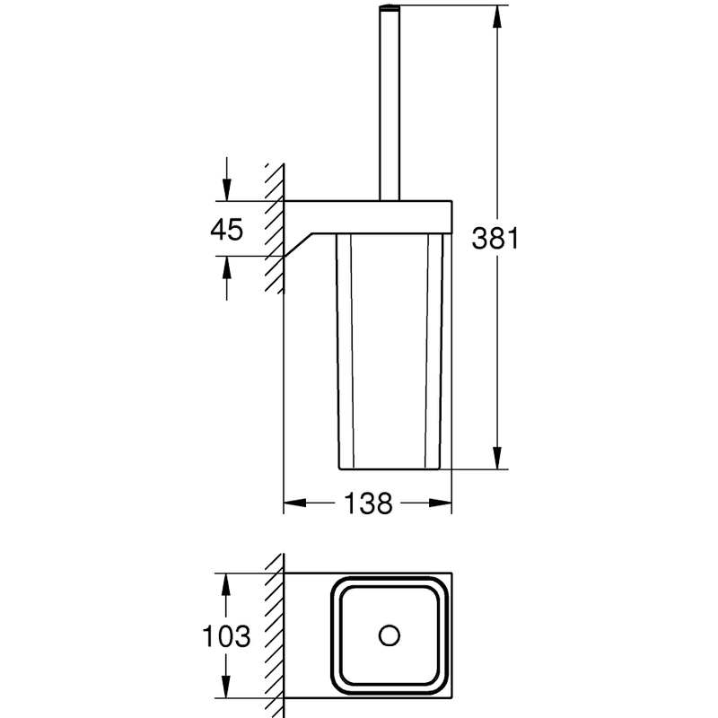 Grohe Selection Cube Toilet Brush Set 40857 Chrome