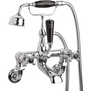 Hudson Reed Black Topaz Crosshead Wall Bath Shower Mixer Dome