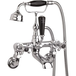 Hudson Reed Black Topaz Crosshead Wall Bath Shower Mixer Hex