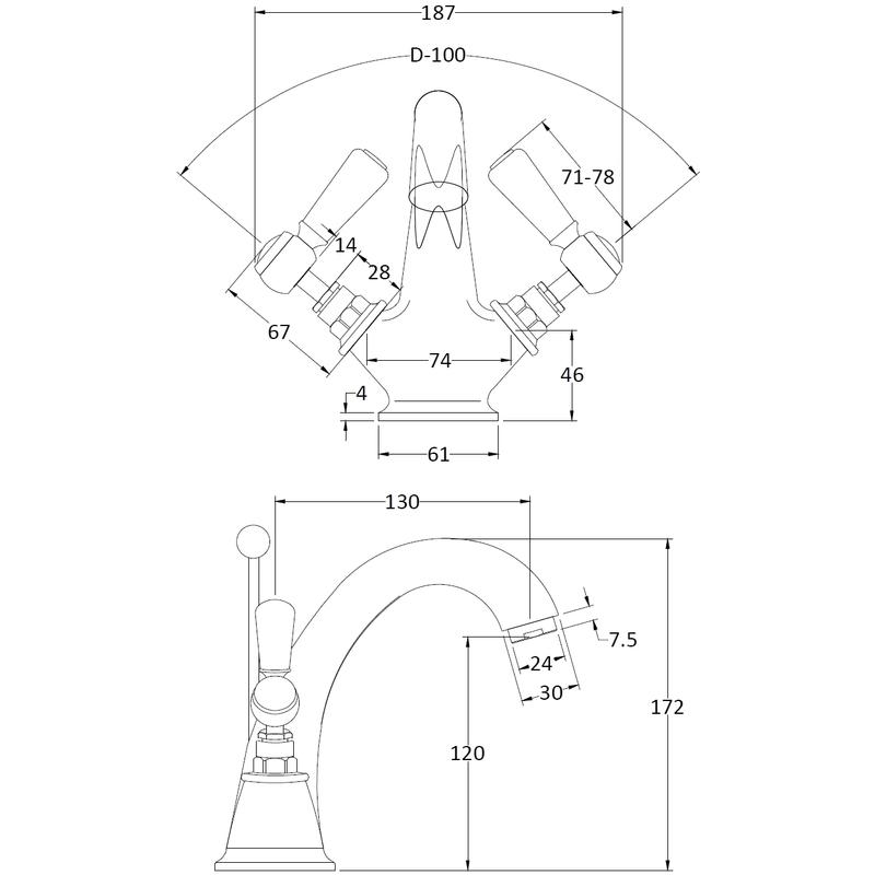 Hudson Reed Black Topaz Lever Mono Basin Mixer Hexagonal