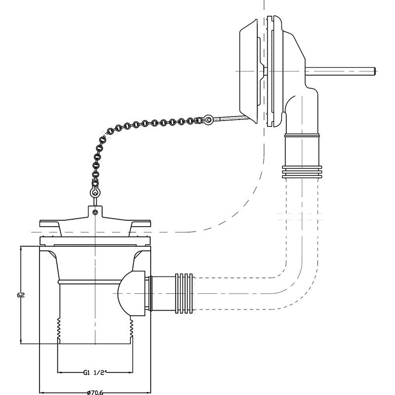 Hudson Reed Bath Waste with Ball Chain
