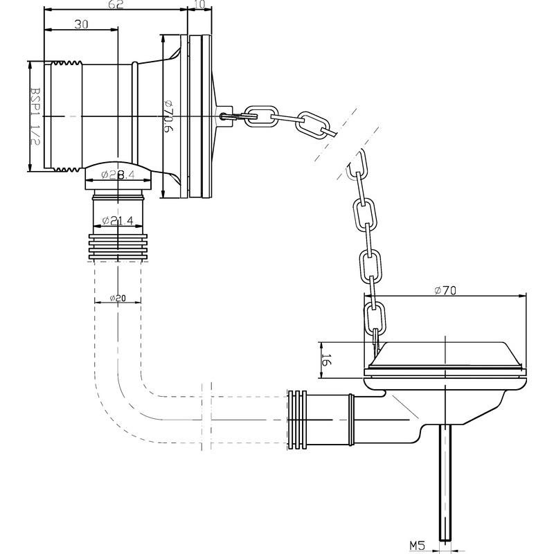 Hudson Reed Bath Waste with Brass Plug