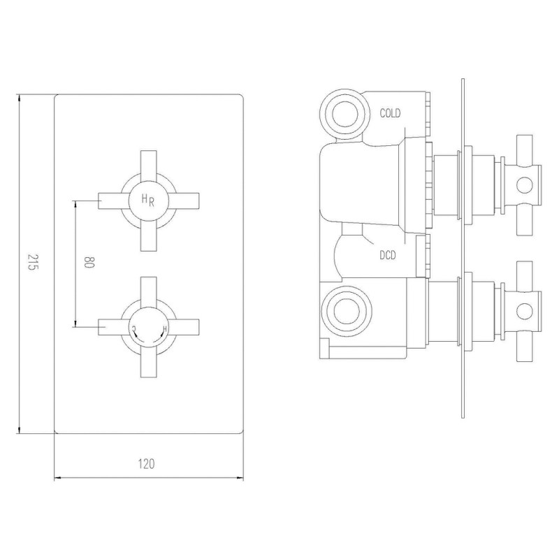 Hudson Reed Tec Crosshead Twin Shower Valve with Diverter