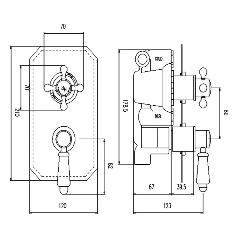 Hudson Reed White Topaz Twin Concealed Valve with Diverter