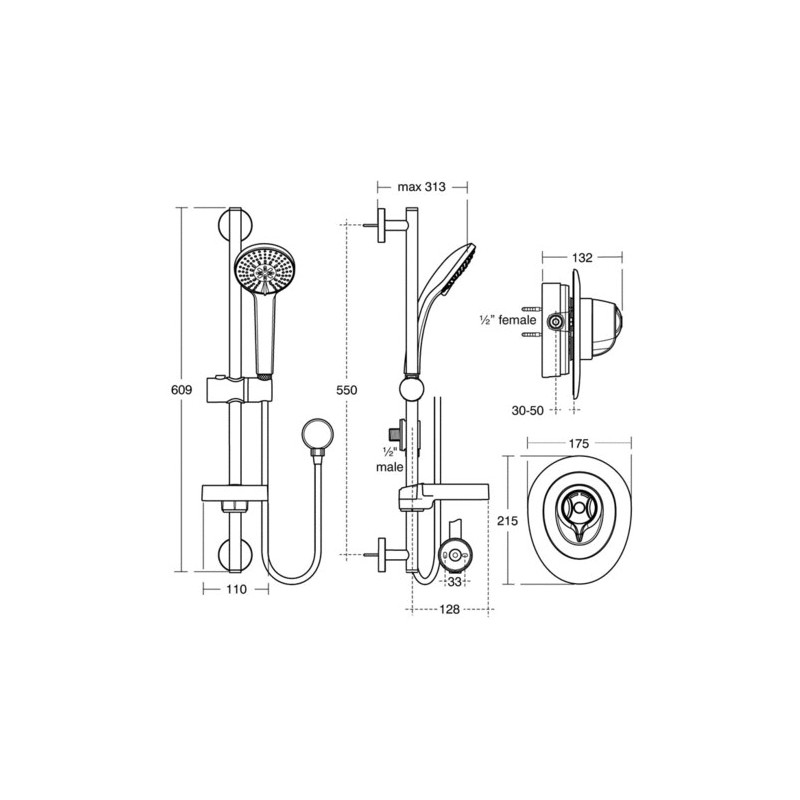Ideal Standard CTV Thermostatic Built-In Shower Pack A5782