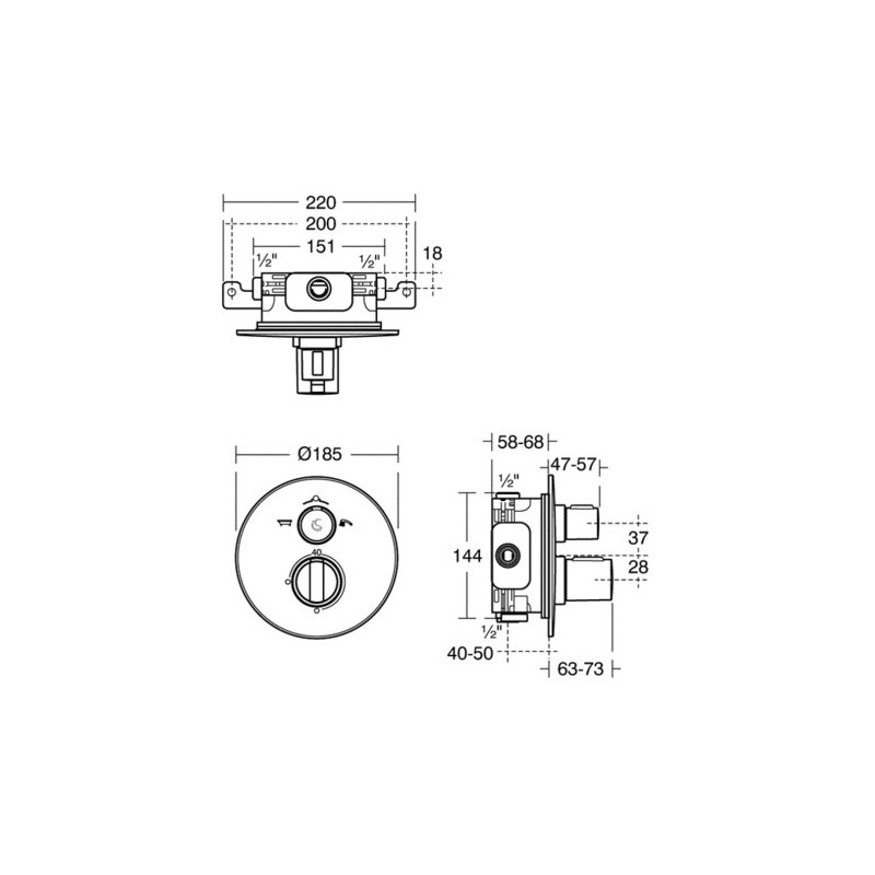 Ideal Standard Concept Easybox Slim Bath Shower Mixer Round