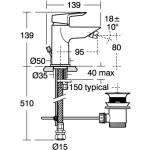 Ideal Standard Tesi Single Lever Bidet Mixer with Pop-Up Waste