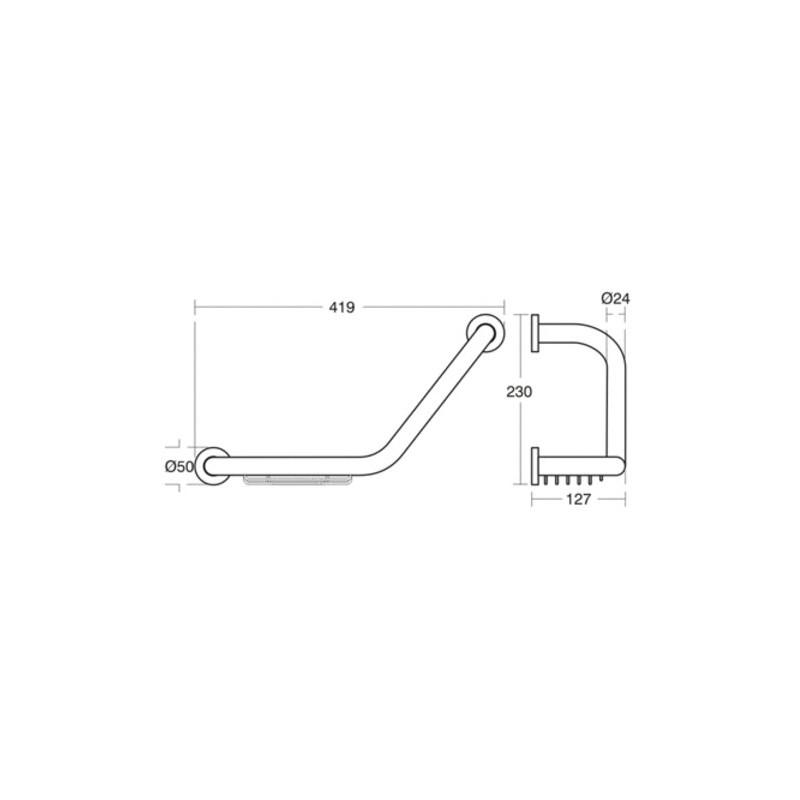 Ideal Standard IOM Grab Rail & Soap Basket A9114