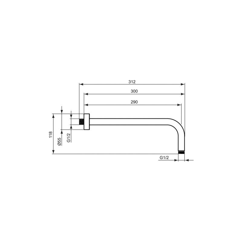 Ideal Standard Idealrain 300mm Horizontal Arm B9444