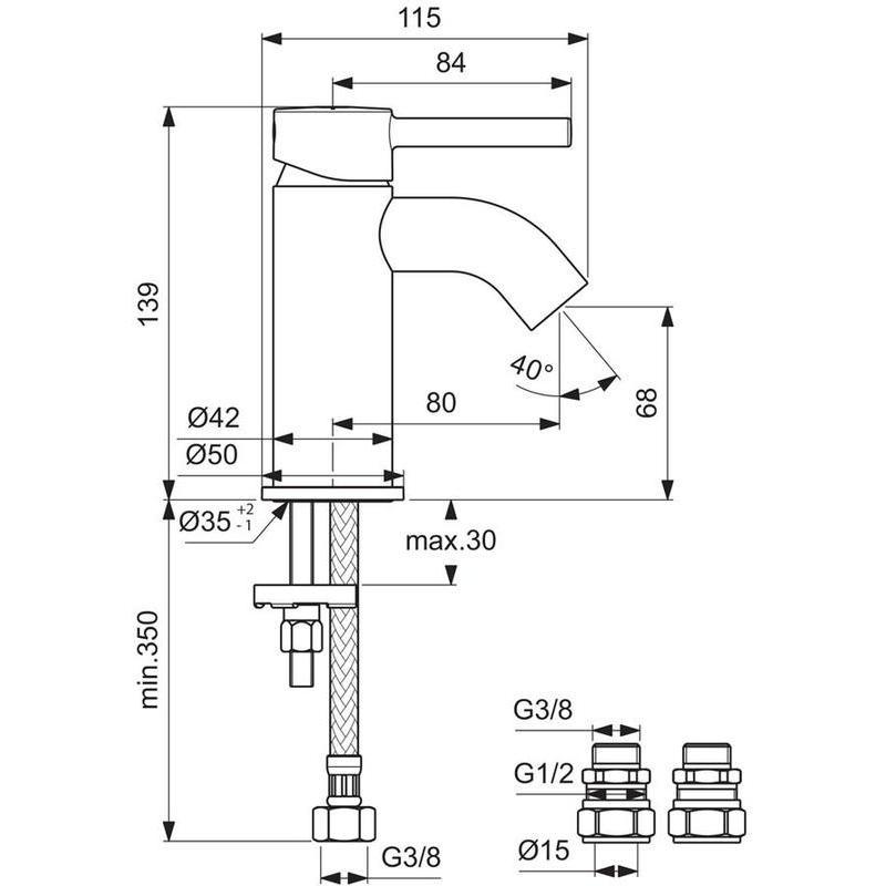Ideal Standard Ceraline Mini Basin Mixer No Waste BC185 Chrome