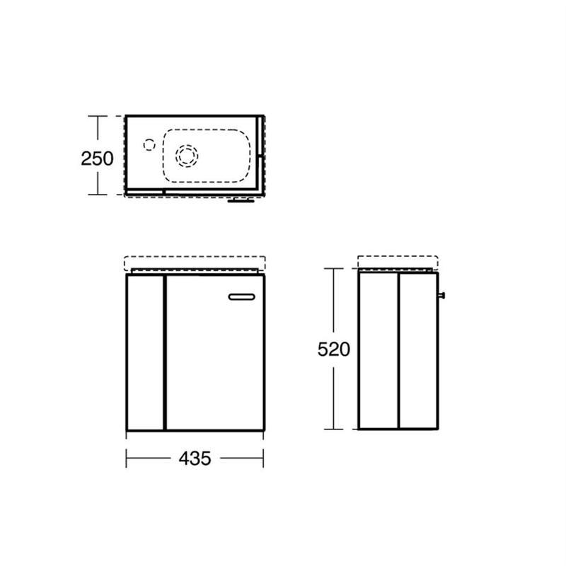 Ideal Standard Concept Space 450mm Wall Basin Unit LH E0370 Oak