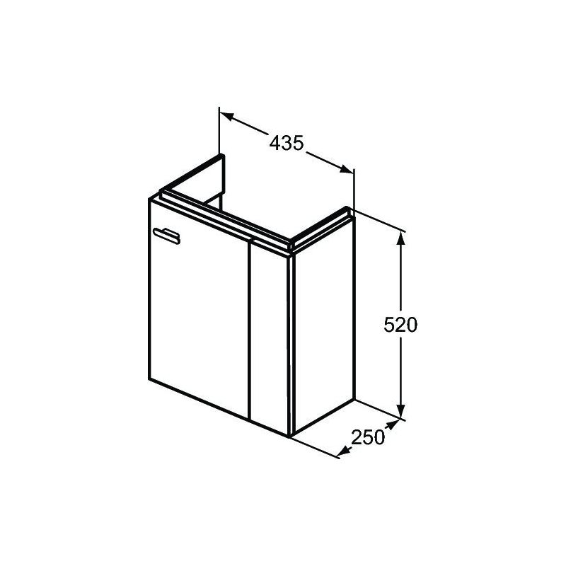 Ideal Standard Concept Space 450mm Wall Basin Unit RH E0371 Grey
